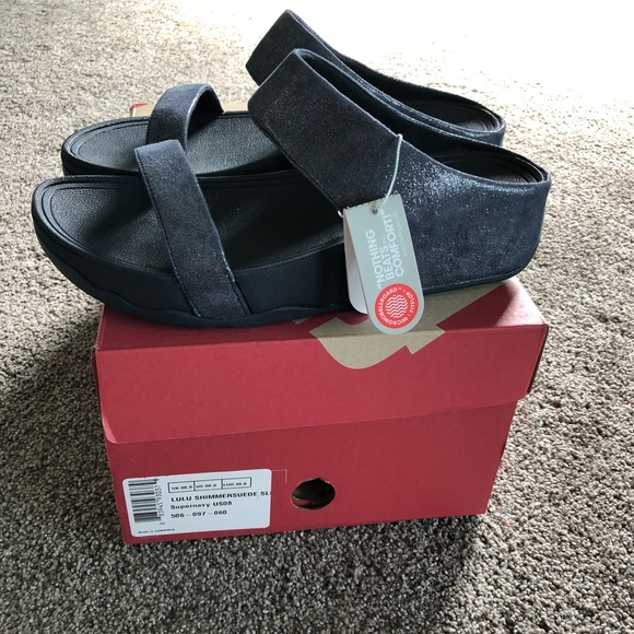 c652a5e84ecdf6 🎈NWT Fitflop LULU Shimmer suede navy slides Sz 8